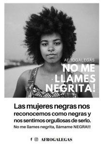 Imaxe do cartaz co que se deron a coñecer Afrogalegas tras a pegada polas rúas da Coruña