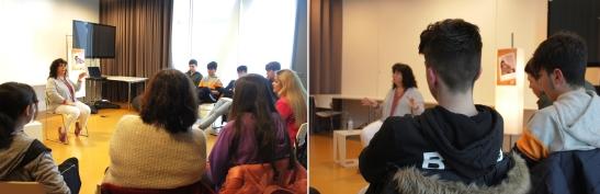 Nun dos momentos compartidos na biblioteca co alumnado de 4º da ESO